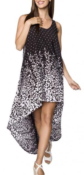 Kurzes schwarzes Sommerkleid mit Rundhalsausschnitt und Blätterdruck Muster asymmetrisch geschnitten