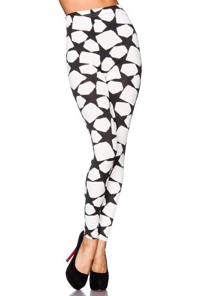Weiße Leggings mit schwarzen Sternen und elastischem Bund