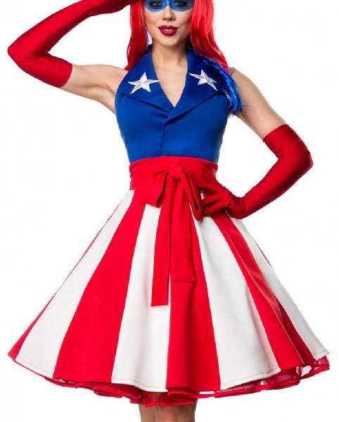 Damen America Outfit Kostüm Verkleidung mit Kleid im USA Flaggen Look und Handschuhe in bunt