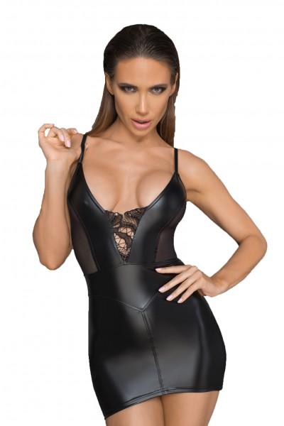 Damen Dessous Gogo wetlook Minikleid mit Tüll-Einsätzen, Reißverschluss und Korsettelementen Sexy Kl