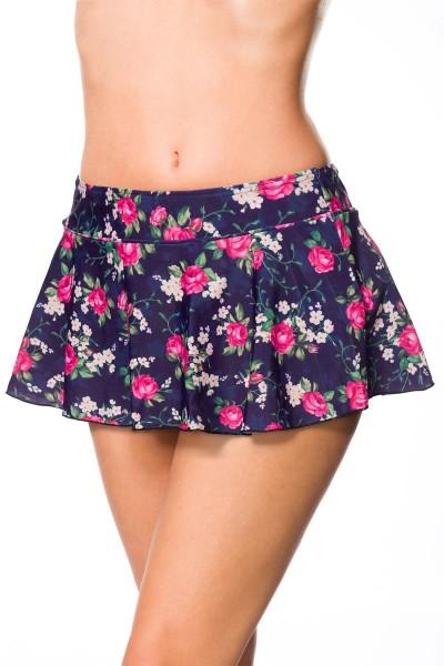 Elastisches Damen Bikiniunterteil Höschen Rock Beinausschnitt und Blumen Muster blau rosa Baderock