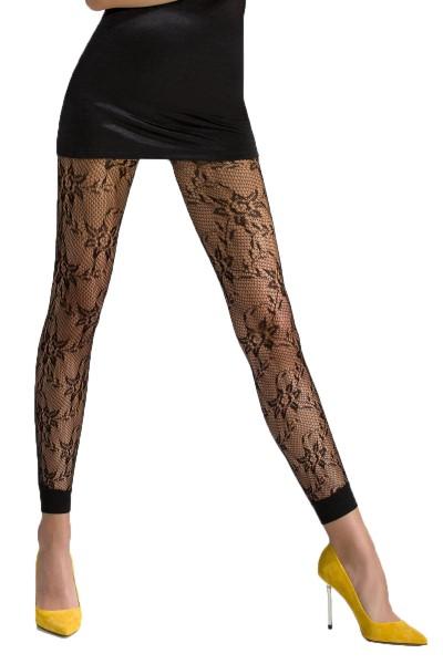 Schwarze Frauen Netz-Strumpfhose transparent mit blumen Muster elastisch