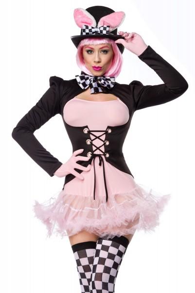 Schwarz rosa Damen rosa Hase Kostüm aus Kleid Handschuhe, Fliege, Frack, Strümpfe und Hut mit Pettic