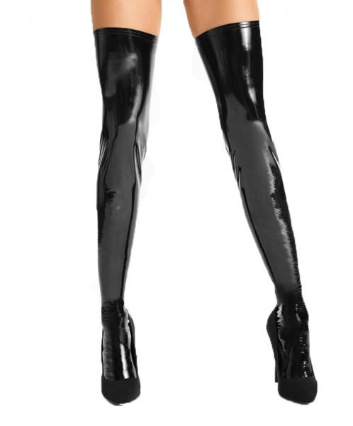 Schwarze wetlook Lack Strümpfe Damen Stockings selbsttragend dehnbar