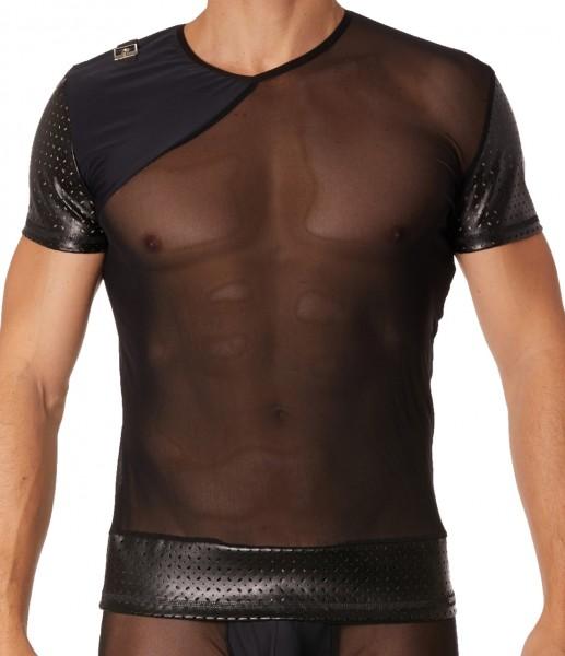 Schwarzes Herren T-Shirt Dessous Shirt aus Kunstelder und Tüll teiltransparent Männer Unterwäsche er