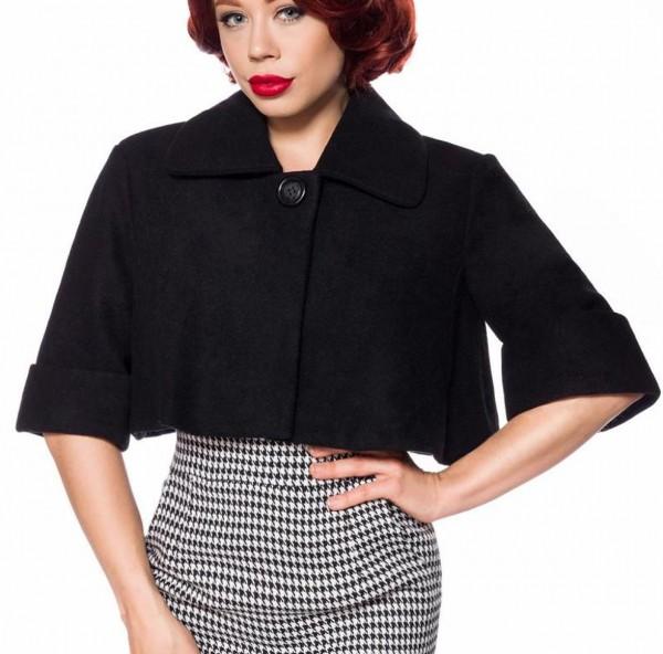 Schwarze kurze Damen Woll-Jacke mit kurzen Ärmeln und Umlegekragen Retro zum knöpfen vorn Vintage