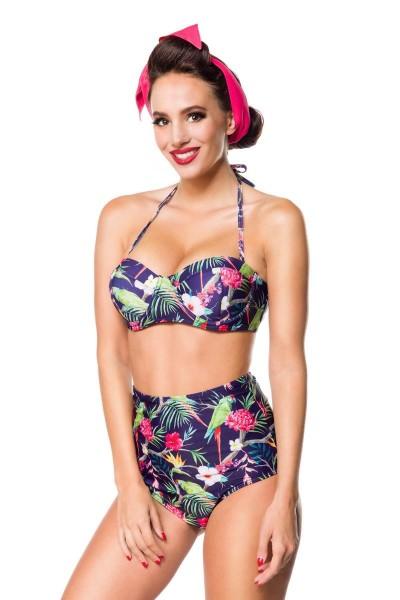 Elastischer Damen Bikini Träger Neckholder Top und Blätter Blüten Papagei Muster blau bunt Push Up