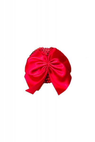 Roter Damen Nippel Patch mit Pailletten und je einer Schleife verziert selbsthaftend Herzform 2x