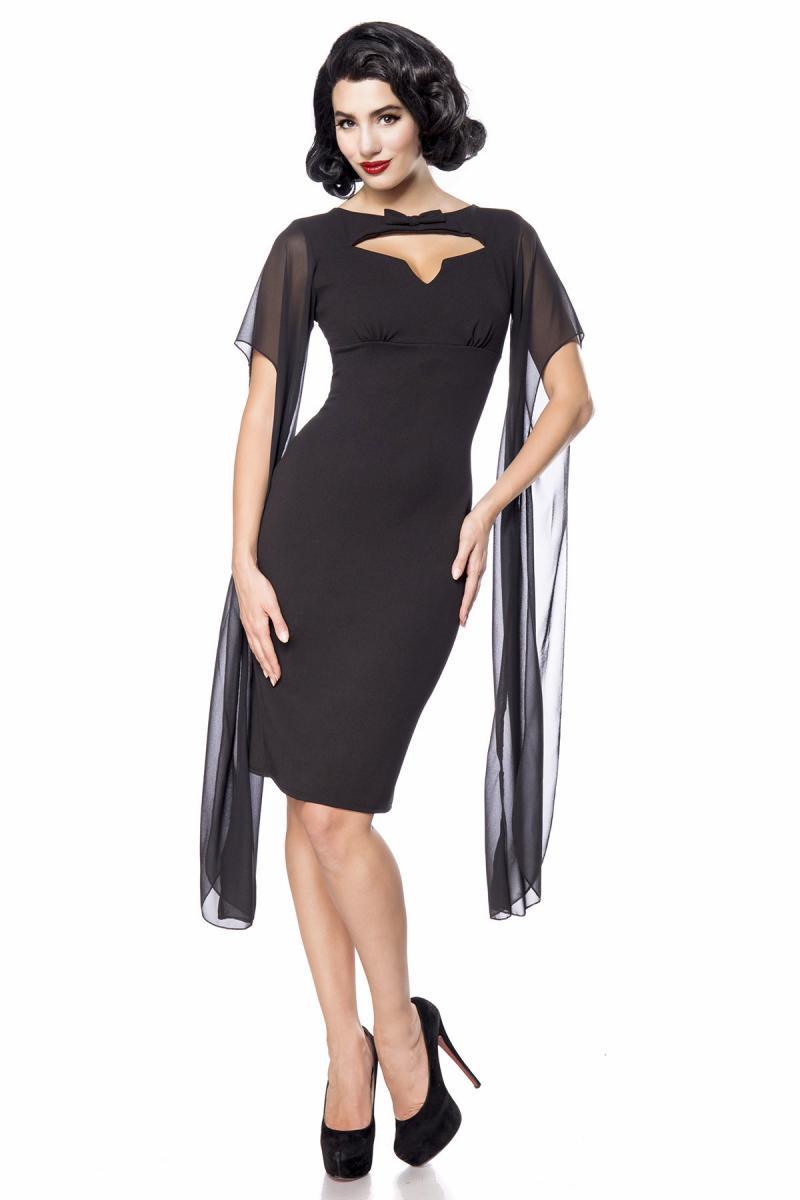 Kleid, schwarz, lange transparente Ärmel, Herz-Ausschnitt