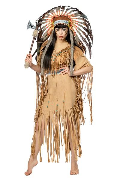Damen Indianer Kostüm Verkleidung mit Federn und Fransen mit Kleid, Kopfschmuck, Tomahawk, in Velour