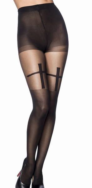 Schwarze Strumpfhose mit Kreuz und Overknee Look transparent