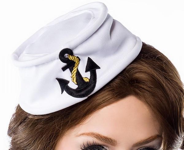 Weiße Matrosenmütze für Damen mit aufgesticktem Ankermotiv Patch Marine Look