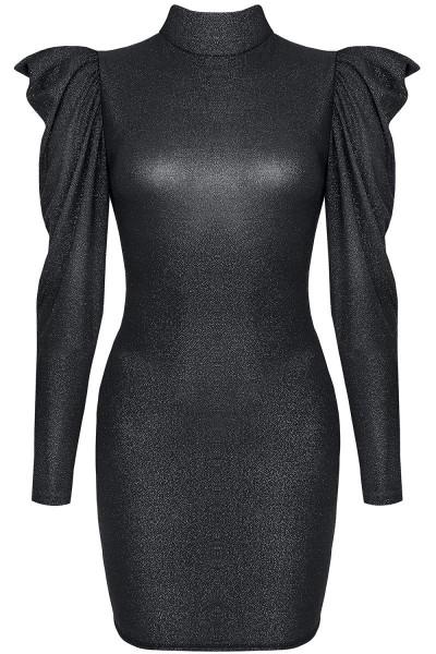 Schwarzes Minikleid mit langen Ärmeln, Kragen und Rückenausschnitt elegantes Abendkleid kurz glänzen