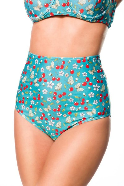 Elastischer Damen Bikiniunterteil Höschen Panty Beinausschnitt und Kirschen Blüten Bienen Muster grü