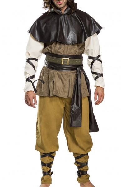 Schwarzes Herren Mittelalter Verkleidung aus Lederoptik mit Cape Hemd und Hose und Gürtel Kämpfer Mi