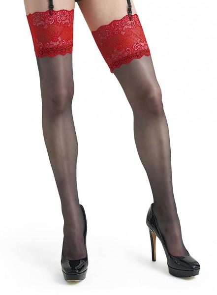 Schwarze Damen Dessous Strümpfe Strapsstrümpfe Stockings mit rotem Spitzen-Abschluss transparent 20