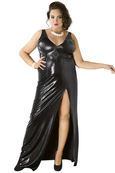 Langes schwarzes Dessous Wetlook-Kleid mit Gehschlitz rückenfrei Damen Maxikleid