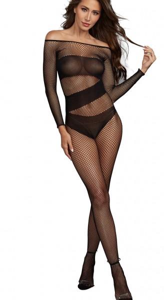 Netz Damen Dessous Bodystocking Einteiler Optik in schwarz mit langen Ärmeln und Overall erotisch el
