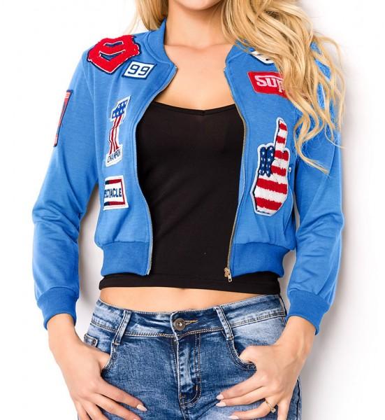 Blaue kurze Damen Blouson Jacke mit langen Ärmeln und aufgenähte Patches Metallreißverschluss vorn b
