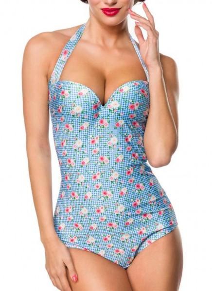 Blau rosaer Neckholder Badeanzug mit Rosen-Motiv und zum binden sowie breiten Trägern Herzausschnitt