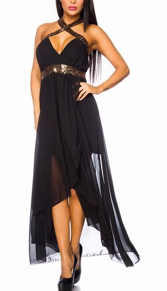 Langes Neckholder Kleid mit Kreuzträgern vorn und Pailletten aus mehrlagigem Chiffon-Stoff asymmetri