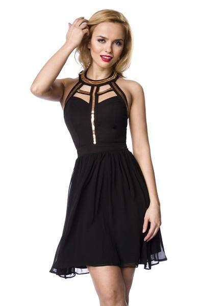 Schwarzes Damen Partykleid Abendkleid mit goldenem Kragen Schmuck knielang