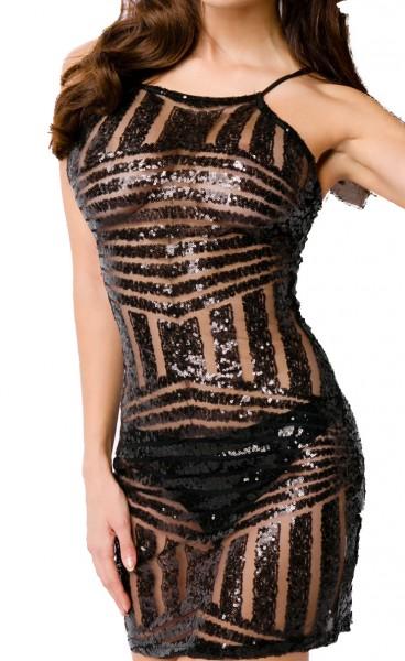 Schwarzes teiltransparentes Kleid mit schwarzen Pailletten ohne Ärmel und Streifenmuster