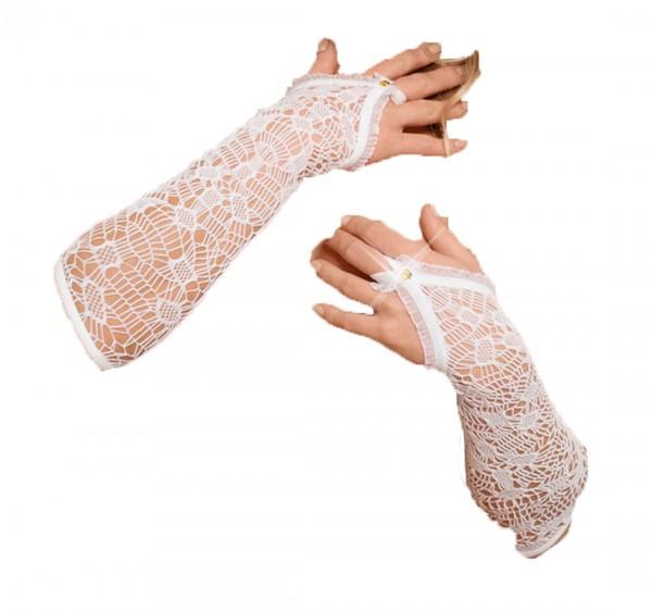 Armstulpen Handschuhe lang aus Netz Stoff weiß transparent Stulpen OneSize