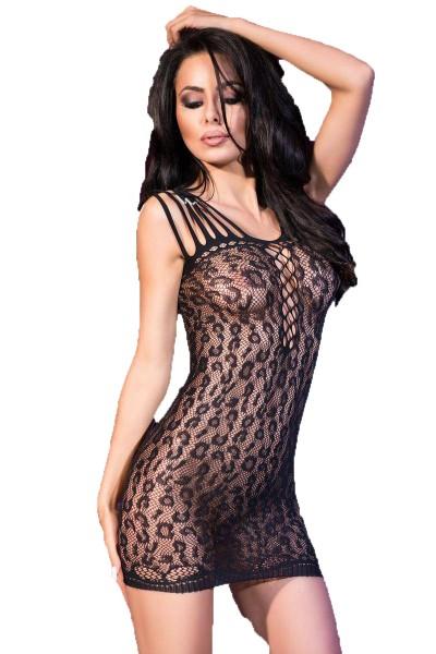 Damen Dessous Mini-Kleid in schwarz Gogo-Kleid mit leopard Muster transparent elastisch OneSize S-M