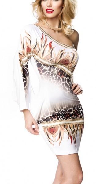 Kurzes weißes Sommerkleid mit einem Arm Strass und Tierdruck Muster asymmetrisch geschnitten