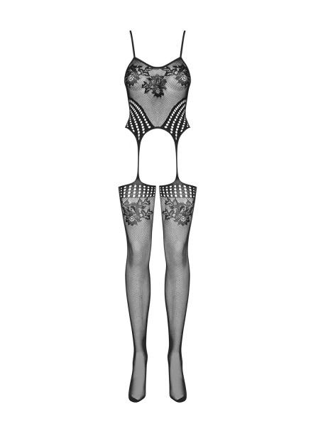Strick Damen Dessous Bodystocking Strapshemd Optik in schwarz mit Strümpfen und Riemchen erotisch el