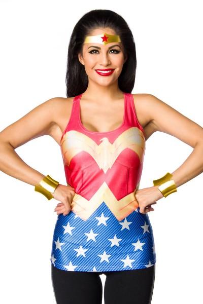 Buntes Damen Wonderwoman Top mit Sternen Print Fotoprint Faschingsverkleidung Outfit