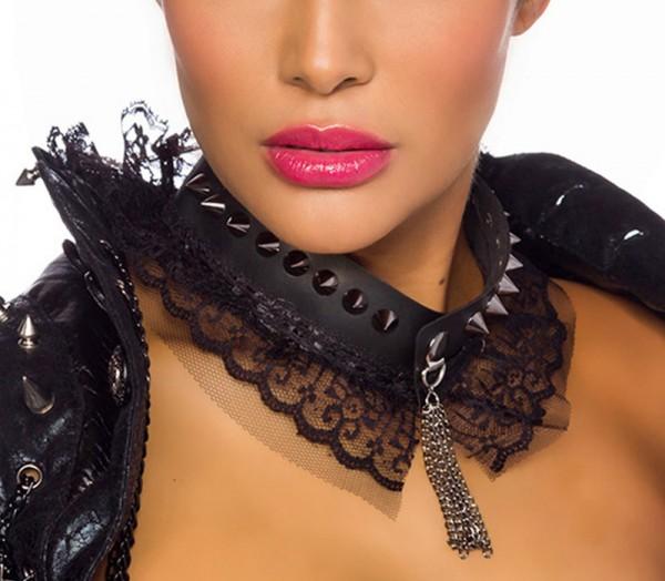 Damen Kette mit Spikes und Spitze in schwarz aus Kunstleder mit Kettenverschluss Halsband