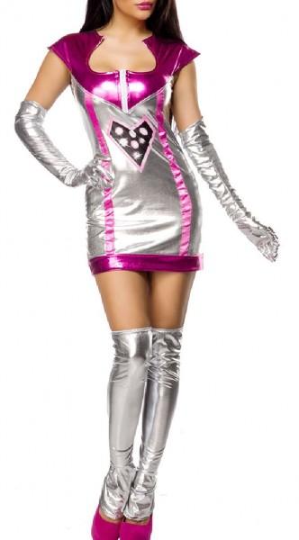 Damen Space Girl Weltraum Kostüm Verkleidung mit Kleid, Stulpen, 2 Handschuhe mit Wetlook Material i