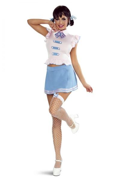 5-teilges Studentin Outfit erotisches Kostüm aus Top, Minirock, String, Haarschleifen Netzstrümpfe w