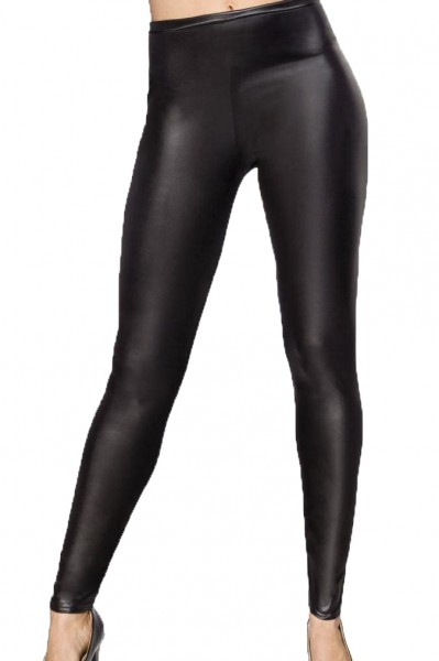 Schwarze Damen Winter Wetlook Leggings mit hohem Bund High Waist und Strumpfhose Optik elastischer B