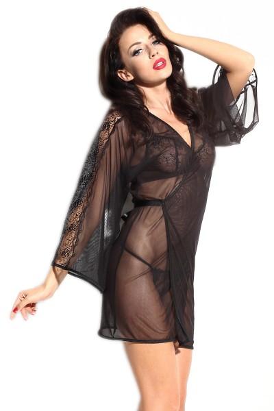 Schwarzer Damen Dessous Kimono transparent aus Tüll und Spitze mit Satin Band Morgenmantel