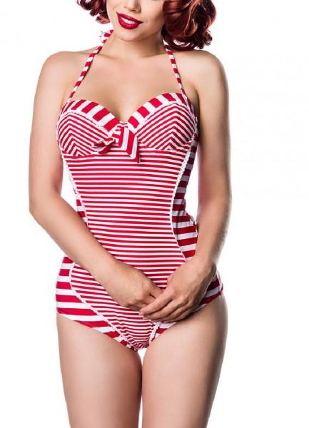 Damen Vintage Neckholder Badeanzug Formbügel im Marine-Look rot weiß gestreift mit Schleife vorn Rüc