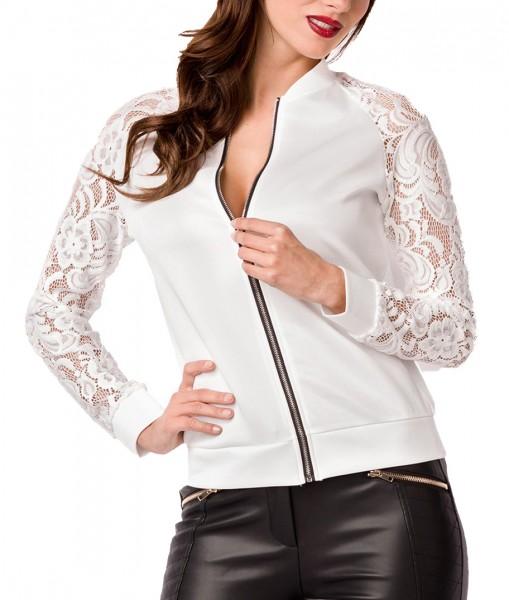 Weiße kurze Damen Jacke mit Raglanärmel Reißverschluss vorn transparenter Spitzenstoff