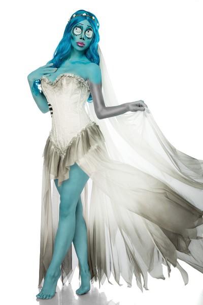 Damen Geister Braut Kostüm Leiche Verkleidung aus Kleid, Schleier, Perücke in weiß blau Coragen Klei