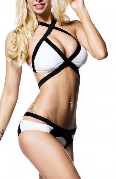 Weißer Neckholder Bikini mit schwarzen Bändern und Kreuzträgern unterlegte Cups