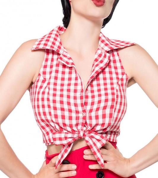 Schulterfreie Bluse zum knoten ohne Ärmeln und mit Umlegekragen weiß kariert Retro-Top mit Knöpfen