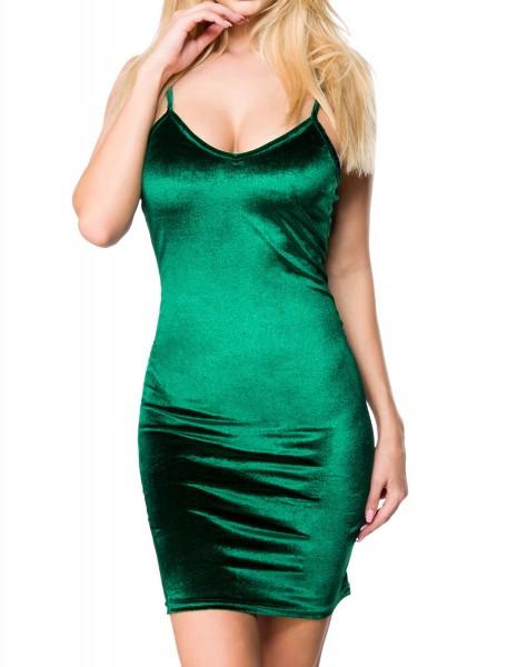 Grünes Damen Samt Kleid mit tiefem Ausschnitt Rückenfrei und schmalen Trägern V-Ausschnitt