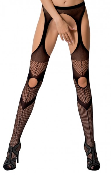 Frauen Dessous Straps Strumpfhose erotisch ouvert transparent mit Muster im Schritt offen elastisch