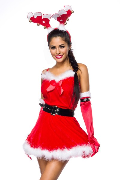 Damen sexy rotes Rentier-Kostüm mit kurzem Kleid Haarreif Handschuhe Roleplay Verkleidung