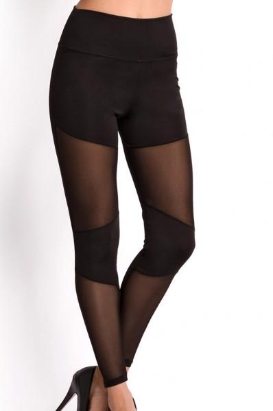 Schwarze Damen Wetlook Leggings mit transparenten Einsätzen und Strumpfhose Optik elastischer Bund
