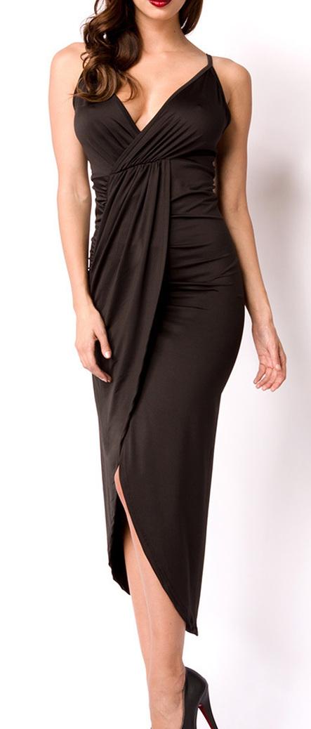 Kleid, asymmetrisch, Rückenausschnitt, gerafft, Partykleid ...