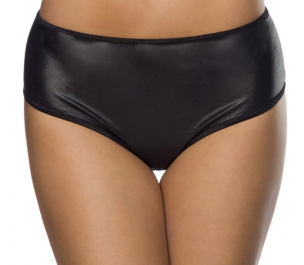 Schwarzer Ouvert Wetlook Hotpant aus hinten offen mit elastischem Bündchen weiches Material Onesize