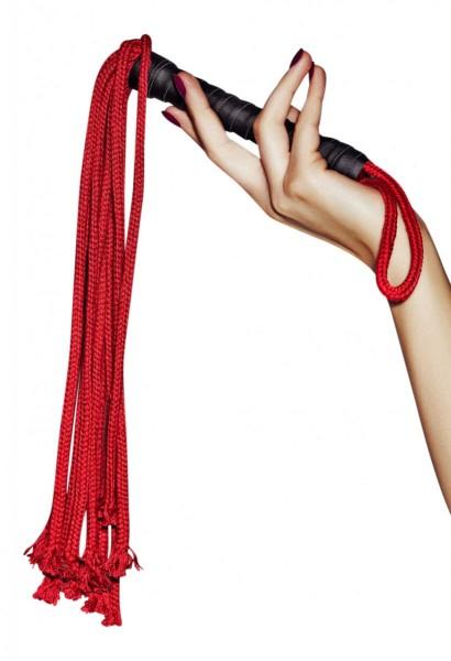 Rote Peitsche aus Kunstelder Griff mit roten Striemen sexy Spielzeug