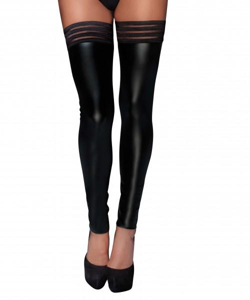 Damen Dessous wetlook fetisch Stockings mit elastischen Bändern und Silikon Streifen in schwarz